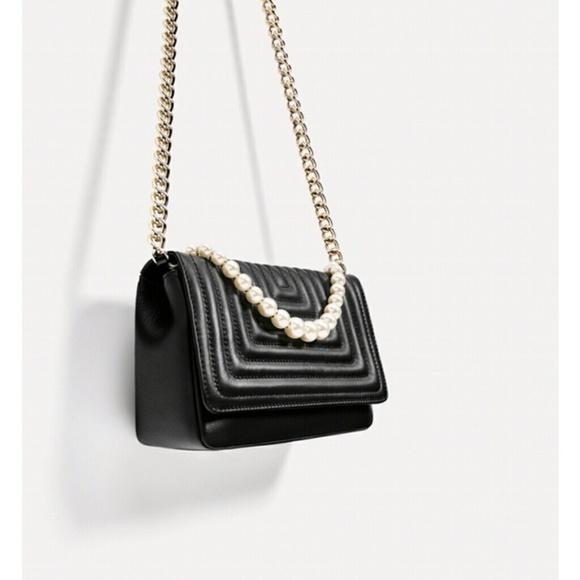 2067ca3ba0347 Zara Bags | Quilted Leather Crossbody Clutch Black Pearl | Poshmark